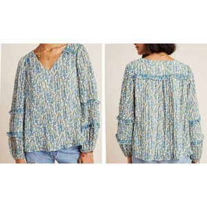 Anthropologie Maeve Avery Pleated Peasant Blouse